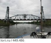 Железнодорожный лифтовой подъёмный мост через Свирь. Товарный состав на мосту, фото № 449486, снято 3 августа 2008 г. (c) Заноза-Ру / Фотобанк Лори