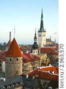 Вид сверху на башни Старого города, Таллин, фото № 2963570, снято 4 ноября 2011 г. (c) Юлия Бабкина / Фотобанк Лори
