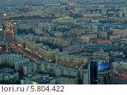 Вид вечерней Москвы с высоты птичьего полета, фото № 5804422, снято 11 апреля 2014 г. (c) Алексей Голованов / Фотобанк Лори