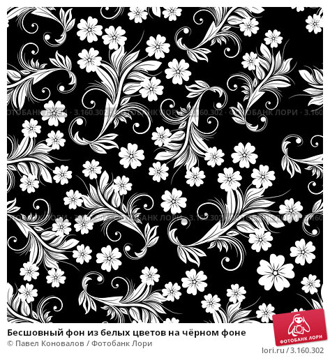 Black and white floral vintage background
