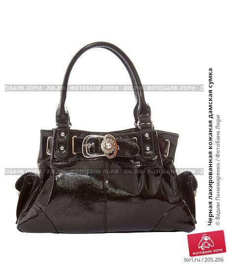 Черная лакированная кожаная дамская сумка, фото 205206.