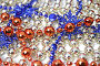 Рождественский фон сделанный из праздничных украшений красного синего и золотистого цвета, фото № 14118, снято 19 ноября 2006 г. (c) Александр Паррус / Фотобанк Лори