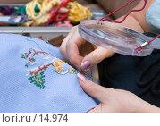 Купить «Модное рукоделие - вышивание крестиком», фото № 14974, снято 12 декабря 2006 г. (c) Юрий Синицын / Фотобанк Лори