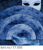 """Купить «Венецианская маска """"ночь"""" - коллаж, реалистичная луна встроена в веер», иллюстрация № 17050 (c) Tamara Kulikova / Фотобанк Лори"""