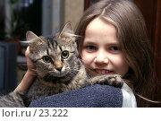 Купить «Девочка с трехцветной кошкой», фото № 23222, снято 19 января 2007 г. (c) Григорьева Любовь / Фотобанк Лори