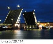 Купить «Дворцовый мост  в Санкт-Петербурге ночью», фото № 29114, снято 1 июля 2005 г. (c) Александр Авдеев / Фотобанк Лори