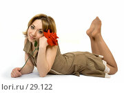 Купить «Красивая девушка с красной розой в волосах», фото № 29122, снято 24 марта 2007 г. (c) Вадим Пономаренко / Фотобанк Лори