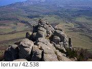 Купить «Вид с вершины Южный Демерджи на Алуштинскую долину», фото № 42538, снято 5 мая 2007 г. (c) Михаил Баевский / Фотобанк Лори