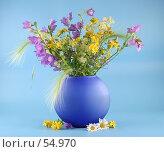 Купить «Букет полевых цветов в синей вазе», фото № 54970, снято 22 июня 2007 г. (c) Елена Блохина / Фотобанк Лори