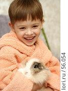 Купить «Симпатичный мальчик держит на руках кролика», фото № 56054, снято 21 июня 2007 г. (c) Останина Екатерина / Фотобанк Лори