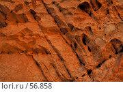 Купить «Диагональные трещины и складки на оранжевой скале», фото № 56858, снято 5 июля 2007 г. (c) Eleanor Wilks / Фотобанк Лори