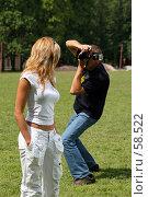 Купить «Фотограф и фотомодель за работой», фото № 58522, снято 24 июня 2007 г. (c) Сергей Лаврентьев / Фотобанк Лори