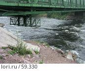 Купить «Автомобильный мост над рекой Вуоксой, нижняя часть с подвесной конструкцией», фото № 59330, снято 16 июля 2018 г. (c) Элеонора Лукина (GenuineLera) / Фотобанк Лори