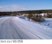 Купить «Зимняя дорога», фото № 60058, снято 24 февраля 2007 г. (c) Вячеслав Потапов / Фотобанк Лори