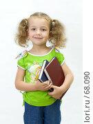 Купить «Школьница с книгами в руках на светлом фоне», фото № 68090, снято 28 июля 2007 г. (c) Ольга Красавина / Фотобанк Лори