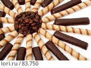Купить «Шоколадные палочки, полосатые трубочки и обжаренные зерна кофе», фото № 83750, снято 9 января 2007 г. (c) Александр Паррус / Фотобанк Лори