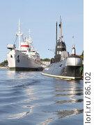 Купить «Научное судно «Витязь» и подводная лодка у причала Музея океана», фото № 86102, снято 6 сентября 2007 г. (c) Parmenov Pavel / Фотобанк Лори