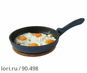 Купить «Сковорода с яичницей из четырех яиц», фото № 90498, снято 26 апреля 2007 г. (c) Ольга Хорькова / Фотобанк Лори