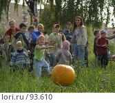 Купить «Праздник урожая: дети кидаются помидорами в тыкву», фото № 93610, снято 4 сентября 2005 г. (c) Антон Алябьев / Фотобанк Лори