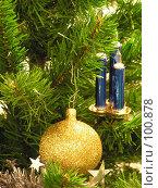 Купить «Елка, свечки и шарик», фото № 100878, снято 14 декабря 2004 г. (c) Калёнов Павел / Фотобанк Лори
