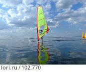 Купить «Виндсерфер и его отражение в воде залива», фото № 102770, снято 22 апреля 2019 г. (c) Сергей Сухоруков / Фотобанк Лори