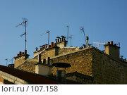 Купить «Антенны и крыши с голубым небом», фото № 107158, снято 27 февраля 2006 г. (c) Harry / Фотобанк Лори