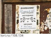 Купить «Кинешма. Объявление о продаже кур.», фото № 108134, снято 25 июля 2006 г. (c) Павел Гаврилов / Фотобанк Лори