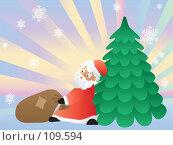 Купить «Рождественская открытка с Санта-Клаусом», иллюстрация № 109594 (c) Бутинова Елена / Фотобанк Лори