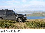 Купить «Тува: Джип и Озеро», фото № 111534, снято 29 июля 2006 г. (c) Александр Гершензон / Фотобанк Лори