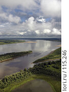 Купить «Кучевые облака над рекой Обь с высоты полета птицы», фото № 115246, снято 4 августа 2006 г. (c) Владимир Мельников / Фотобанк Лори