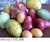 Купить «Много экзотических фруктов на столе», фото № 115398, снято 24 марта 2007 г. (c) Колчева Ольга / Фотобанк Лори