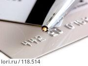Купить «Кредитные карты с ручкой», фото № 118514, снято 14 ноября 2007 г. (c) Валерия Потапова / Фотобанк Лори