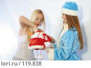 Купить «Снежинка достает подарок из мешка Снегурочки», фото № 119838, снято 11 ноября 2007 г. (c) Евгений Батраков / Фотобанк Лори
