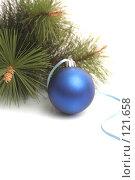 Купить «Синий новогодний шар и сосновая ветка», фото № 121658, снято 31 октября 2007 г. (c) Останина Екатерина / Фотобанк Лори