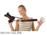Купить «Женщина с фотокамерой», фото № 122166, снято 1 апреля 2007 г. (c) Валентин Мосичев / Фотобанк Лори