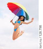 Купить «Прыжок под зонтом», фото № 128798, снято 5 сентября 2007 г. (c) Серёга / Фотобанк Лори