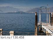 Озеро Maggiore (Италия), пирс г.Лавено, вид на Интру. Стоковое фото, фотограф Влада Посадская / Фотобанк Лори