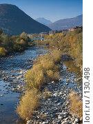 Горная речка, галька, мост и холмы вдалеке. Стоковое фото, фотограф Влада Посадская / Фотобанк Лори