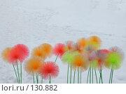 Купить «Разноцветные пушистые шары на ножках в снегу», фото № 130882, снято 18 ноября 2018 г. (c) Олег Крутов / Фотобанк Лори