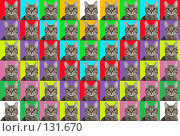 Купить «Разноцветное панно (фон) из  изображений кошки», фото № 131670, снято 15 августа 2018 г. (c) Круглов Олег / Фотобанк Лори