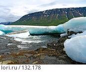 Купить «Горная река и лед», фото № 132178, снято 6 июля 2004 г. (c) Serg Zastavkin / Фотобанк Лори