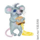 Купить «Открытка с мышонком, который выливает мед из чашечки», иллюстрация № 133510 (c) Олеся Сарычева / Фотобанк Лори