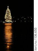 Купить «Новогодняя елка ночью в огнях», фото № 136650, снято 2 декабря 2007 г. (c) Екатерина Соловьева / Фотобанк Лори