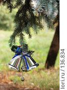 Купить «Новогодние украшения на елке», фото № 136834, снято 9 октября 2007 г. (c) Сергей Старуш / Фотобанк Лори