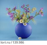 Купить «Синяя ваза с полевыми цветами», фото № 139986, снято 22 июня 2007 г. (c) Елена Блохина / Фотобанк Лори