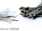 Купить «Гаечные крючи и отвертки лежащие на белом фоне», фото № 158026, снято 23 декабря 2007 г. (c) Баевский Дмитрий / Фотобанк Лори