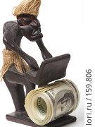 Купить «Электронная коммерция. Фигурка человека за компьютером делающего деньги.», фото № 159806, снято 24 декабря 2007 г. (c) Олег Селезнев / Фотобанк Лори