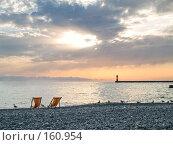 Купить «Закат на пляже», фото № 160954, снято 20 сентября 2006 г. (c) Liseykina / Фотобанк Лори