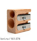 Купить «Двойная деревянная точилка на белом фоне», фото № 161074, снято 11 октября 2006 г. (c) Александр Паррус / Фотобанк Лори