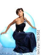 Купить «Девушка в синем выпускном платье, на надувном кресле», фото № 163502, снято 26 июля 2007 г. (c) Александр Паррус / Фотобанк Лори